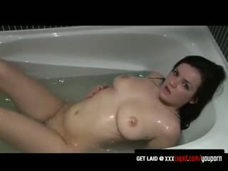 Deep-Throating a Glass Dildo in the Bath