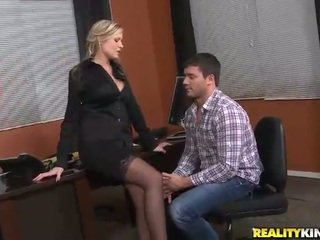 Giant boobs blonde boss Darcy Tyler pick up a dude