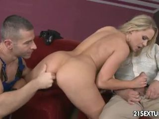 Barra brass handles two cocks with her hot body