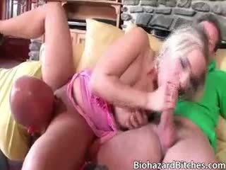 Sexy Hot Blonde Girl Mia Leone Takes Two Hard Cocks