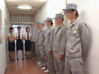 Asian jail gangbang with police women rubbing hard cock