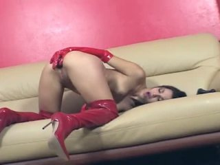 Porner Premium: Brunette asian plays with dildos in both holes