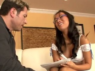Asa Akira with glasses and John Strong
