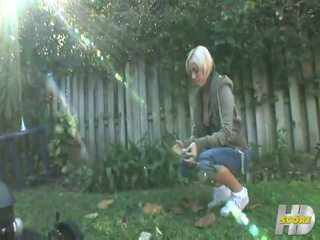 Short Haired Blonde Teen With Tattooes Masturbates Outdoor