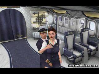 Yummy 3D cartoon stewardess getting fucked hard