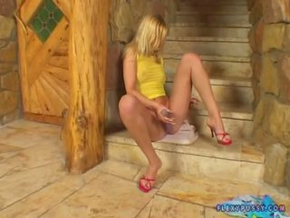 Bitchy Blonde Yasmine Gold Fingers Her Pink Twat On The Stairway