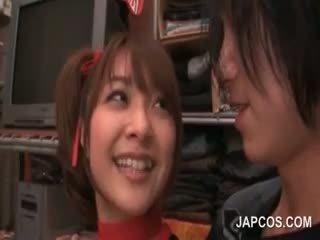 Japanese Redhead Sweetie Sensually Tongue Kissing