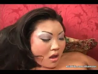 Dirty asian whore suck and ride anally a fat black dick
