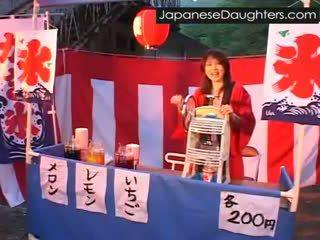 fiatal, japán, durva, lánya
