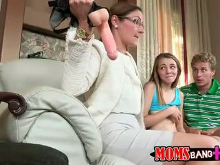 Sexy stepmom Ava Hardy teaches couple