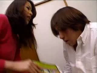 Japanese Aunt Helped Nephew Jerking On Porn Magazine Video