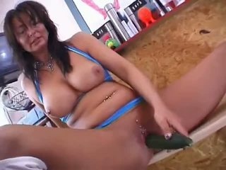 German pierced mom with a cucumber Video