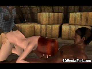 3D country girl double teamed