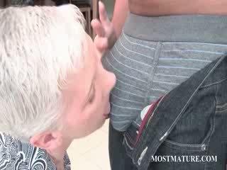 Slender sixty lover teasing chick Dick