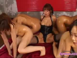 big tit domina In Corset Fucking Her Slaves Assholes With strapon On The Mattress In The Dungeon