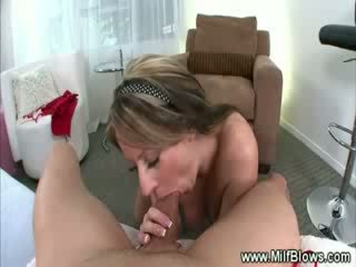 Milf striptease then gives hot bj