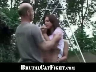 Naked Bitch Punishes Slut With Catifight And Hardcore Cock Sucking