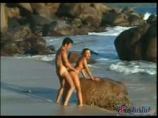 gorące doggystyle, jakość cum ty, plaża dowolny