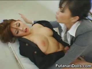 Futanari tastes 自分の 精液!