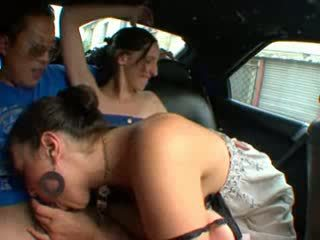 2 lesbians fucked in a car