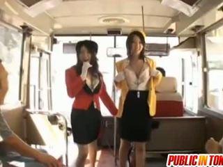 Babes Rino Asuka And Ringo Kurenai Suck Dick On A Bus