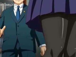 Anime girl in school uniform blowing large cock