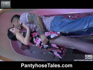 Erotic female having her control top hose hardcored open for a make love near a kandang jaran