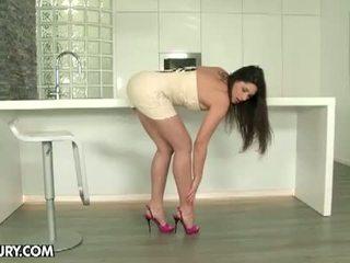 chick, masturbating, nice shaved pussy ideal