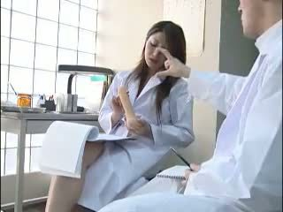 Sexy Japanese doctor gives her colleague a bj