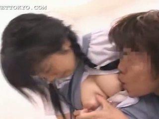 Asian schoolgirl swallowing a big load of fresh