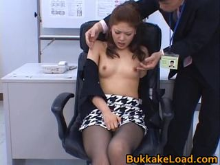 japanese, oriental, pussy and dildo, office fuck