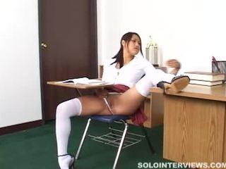 角质 亚洲人 女学生 masturbates 在 类