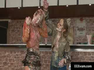 Two hot horny dykes get freaky with a filthy food fight