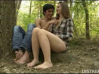 Teen's twat stuffed in forest
