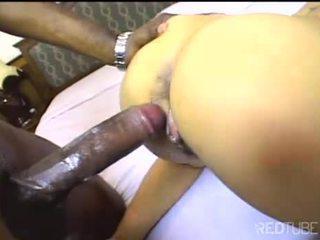 Big black dick slamming shaved Thai pussy