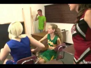 Bratty Cheerleader Handjob Around Three Girls