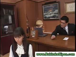 Amateur clothed jap model sucks boners and gets bukkake