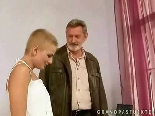 Old man fucks a hot teen blonde with ease