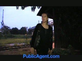 Blonde teen fucks public agent