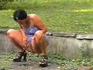 piss, outdoors, high heels, black hair