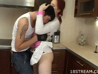 blowjob, redheads, kitchen