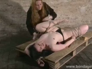 Sexy Fetish Model Caroline Pierce Lesbian Bondage and Tied Damsel in Distress Roped to a Floor in the Kinky Dungeon Video