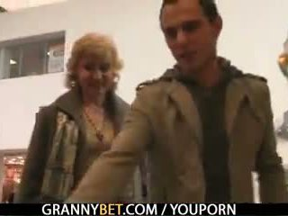 A guy picks up old blonde and fucks her