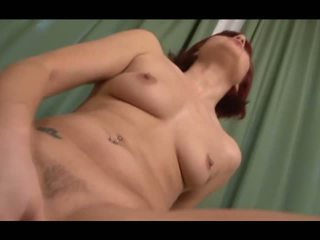 Redhead Lucy Bell plays with 5 huge cocks