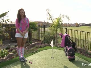 Busty bé taylor plays một sexy tròn của golf: miễn phí khiêu dâm 7e