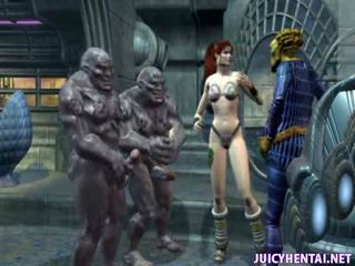 Animated babe gets double drilled by two aliens