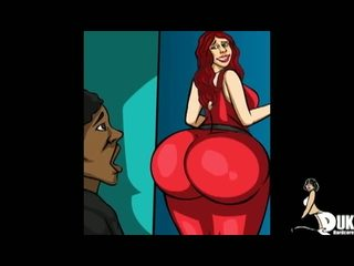 Pawg أحمر haired جبهة مورو uses لها كبير الحمار إلى لها أسود خطوة