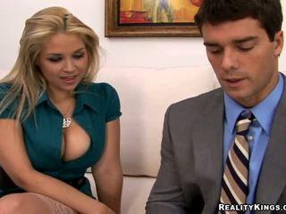 Amazing busty secretary fucking a dude