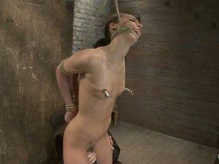 Sexy alto lungo legged tan ragazza il prossimo porta br brutale bondage neck rope breath giocare fatto a venire