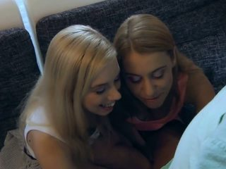 Blonde babes swap old cum after oldyoung trio